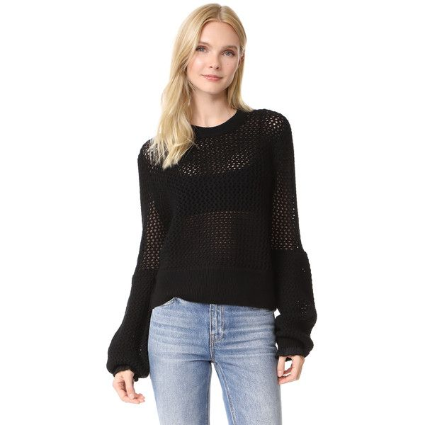 McQ - Alexander McQueen Mesh Knit Crew Neck Sweater (602 AUD) ❤ liked on Polyvore featuring tops, sweaters, darkest black, transparent top, open knit sweater, long tops, open-stitch sweaters and mesh crop top