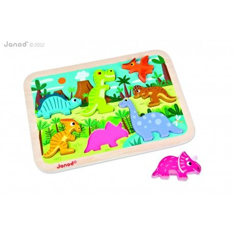 Janod - Træpuslespil med chunky brikker, dinosaur