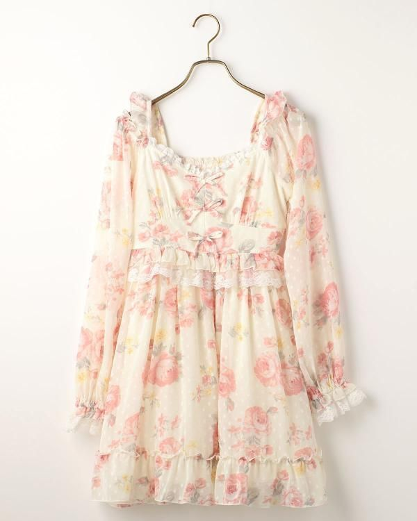 LIZ LISA Rose Ribbon Off-shoulder Tunic Dress Sweet street Lolita Kawaii Japan #LizLisa #PeplumTunic #Party