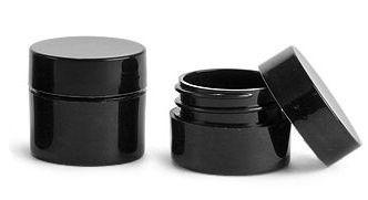 Black Lip Balm Containers - 0.25 oz Plastic Lip Balm Jars w/ lids (24 Pack)