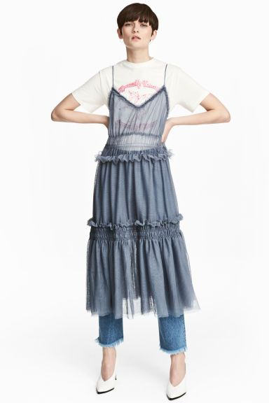 Tiered tulle dress - Dusky blue - Ladies | H&M GB