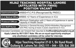 Hijaz Teaching Hospital Jobs 2017 In Lahore For Medical Officer And ICU Staff http://www.jobsfanda.com/hijaz-teaching-hospital-jobs-2017-lahore-medical-officer-icu-staff/