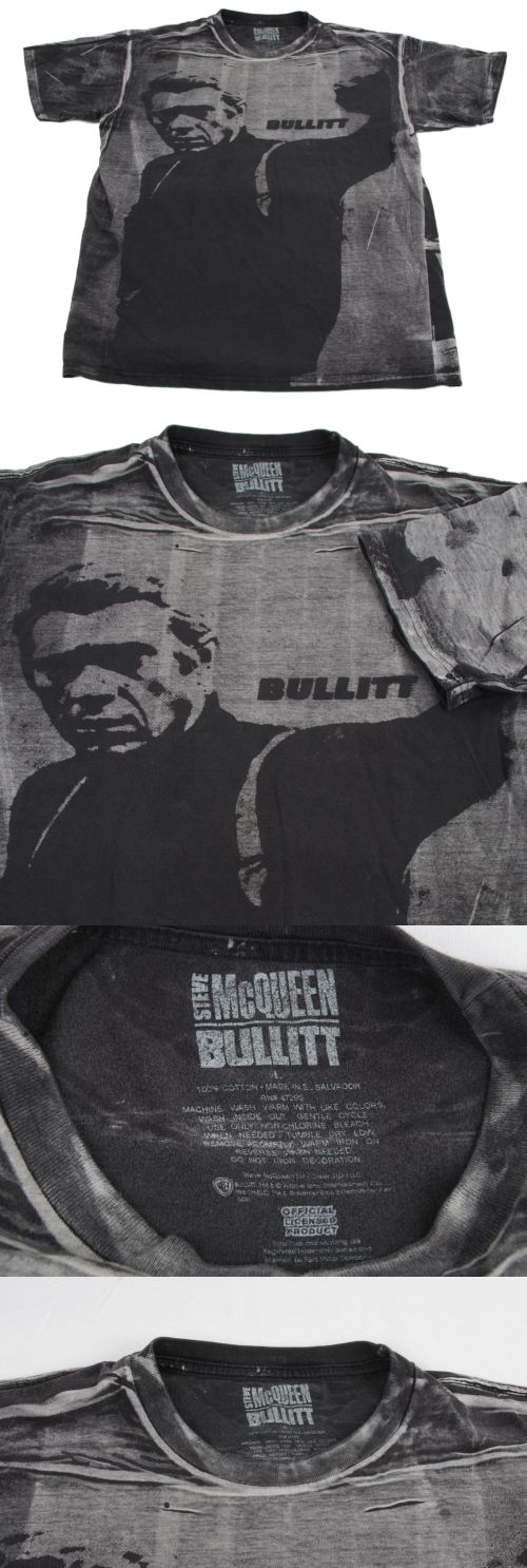 T-Shirts 175781: Mens Steve Mcqueen Bullitt Gray All Over B W Photo Auth 100% Cotton T-Shirt L -> BUY IT NOW ONLY: $49.99 on eBay!