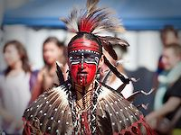 Gerry Hunter, a native of Lac-Simon indian Reservation and wearing Algonquin traditional dresses and paint, takes part into the dance contest of Wendake Pow-Wow July 1, 2012. The Algonquins (also spelled Algonkins) are aboriginal/First Nations inhabitants of North America who speak the Algonquin language, a divergent dialect of the Ojibwe language, which is part of the Algonquian language family.