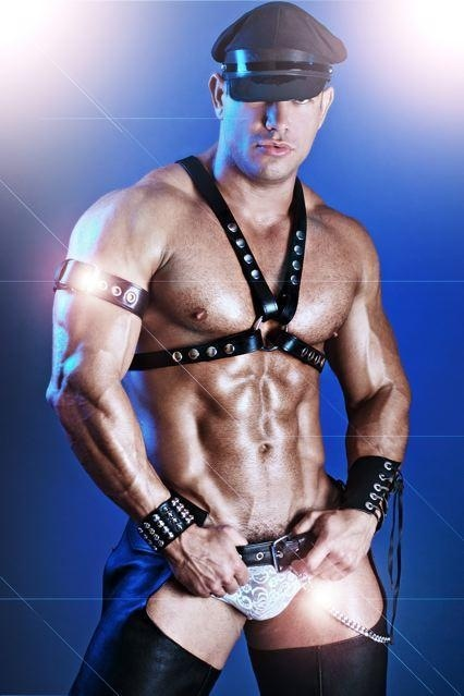 Sexy leather daddy brian bonds fisting guy on swing 7