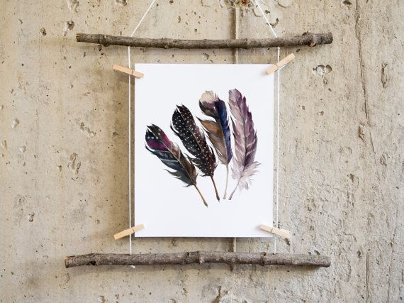 Feather print feather Art boho wall art by PrintableLifeStyle