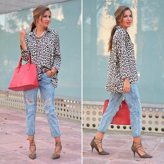 Zara Blouse, Choies Jeans, Zara Heels, Primark Handbag - Leopard Print