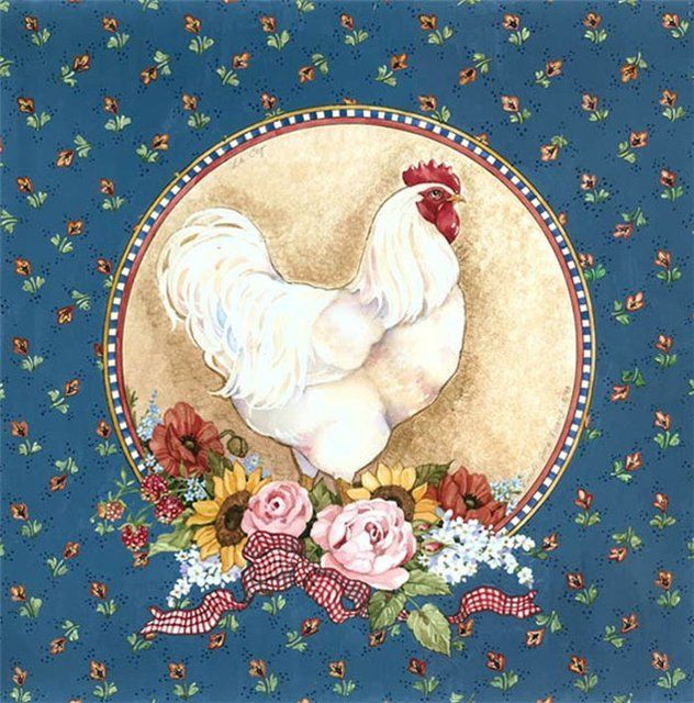 Белая Курица На Голубом Фоне