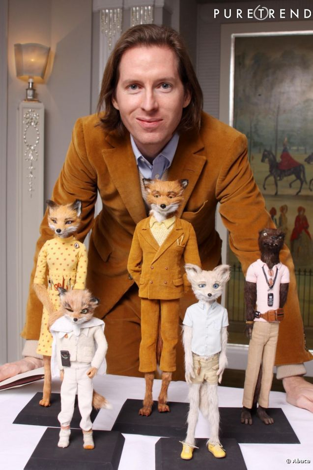 "Wes Anderson and puppets from ""Fantastic Mister Fox"". Image © Abaca"
