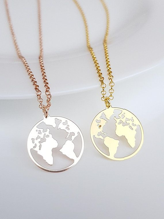 d143779a0c5348 Globe Necklace, Earth Necklace, Boho Jewelry, Silver Gold Rose Gold Plated  Necklace, Globe Pendant, Globe Choker, World Map Necklace G.P.