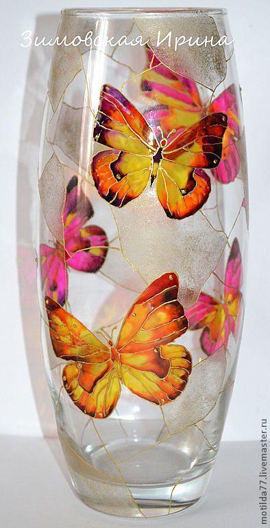 """Вазы ручной работы. Ярмарка Мастеров - ручная работа. Купить Ваза """"Бабочки"""". Handmade. Ваза, ваза для цветов, стекло, стразы"""