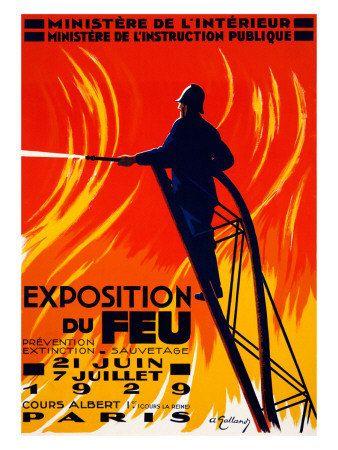 Lutte contre les incendies Vintage Expo 1929 de Poster en papier de Paris Exposition du Feu pompier beaux-arts giclée Print coton texturé