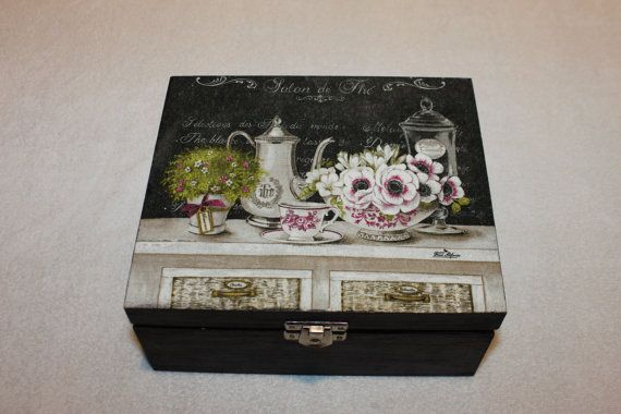 Black 4 Sections Wooden Tea Box  a Great Gift by Jurosihandmade