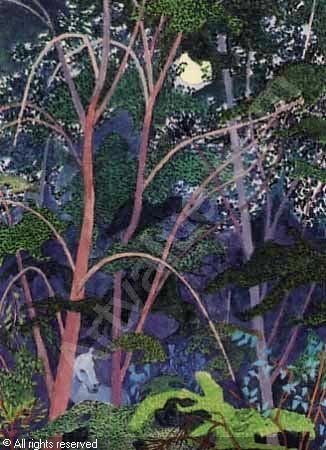 Ferdinand Finne (1910 – 1999): Sommernatt med måne, gouache