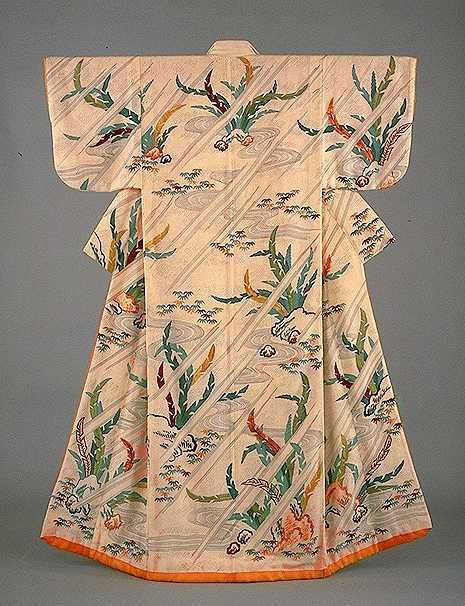 """""""Kosode (short-sleeved kimono) with stream and plantain leaf design""""  SUNTORY MUSEUM OF ART"""