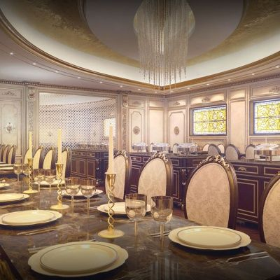 Luxury classical interior house designs with big sitting for Dining hall wall decoration