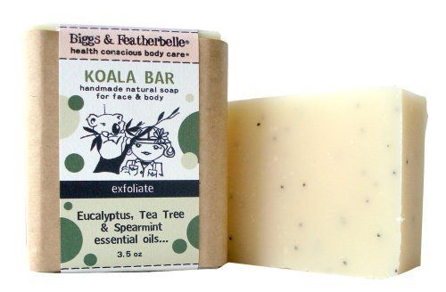 Bigss & Featherbelle Soap Bar, Koala Bar, 3.5 Ounce (Pack of 2) by Biggs & Featherbelle. $9.98. Eucalyptus, tea tree and spearmint essential oils. Exfoliating for face and body. Nourishing, no synthetics. Koala 3.5 ounce all natural, handmade bar soap; Mini retreat for the sense, sallow the trio of eucalyptus, spearmint, and tea tree essential oils to make your skin tingle and your mind soar. Feel the combination of rich olive oil soften your skin, and the dash o...