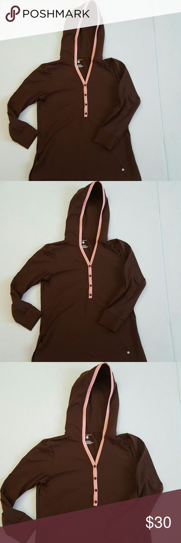 Pranyama Women's Hoodie Stretch Brown Pink Large Pranyama Women's Hoodie Stretch Brown Pink Large. Great for workout or yoga!! 92% Nylon, 8% Spandex Measurements: Armpit to armpit 22 inches across Pranyama Jackets & Coats Utility Jackets