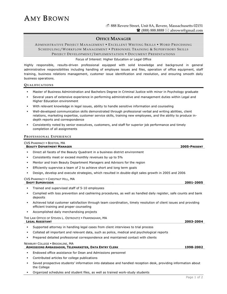 paralegal resume - Google Search The Backup Plan Pinterest - dba manager sample resume