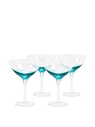 64% OFF Nassau Martini Hand-Crafted Glass, Clear/Aqua, Set of 4