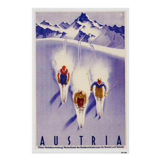 Österreich ~ Vintage österreichische Ski-Reise Poster