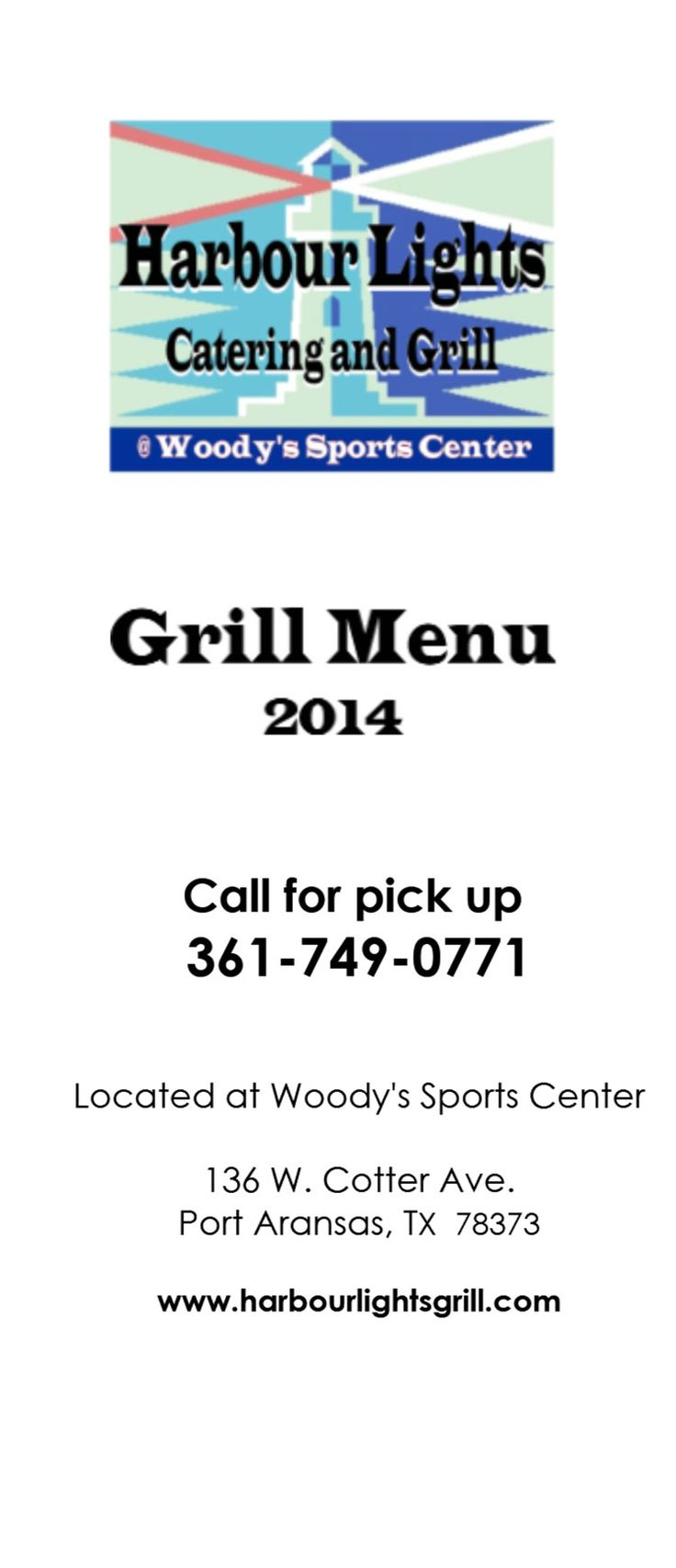 Harbour Lights Catering Grill Restaurant Menu At Woody S The