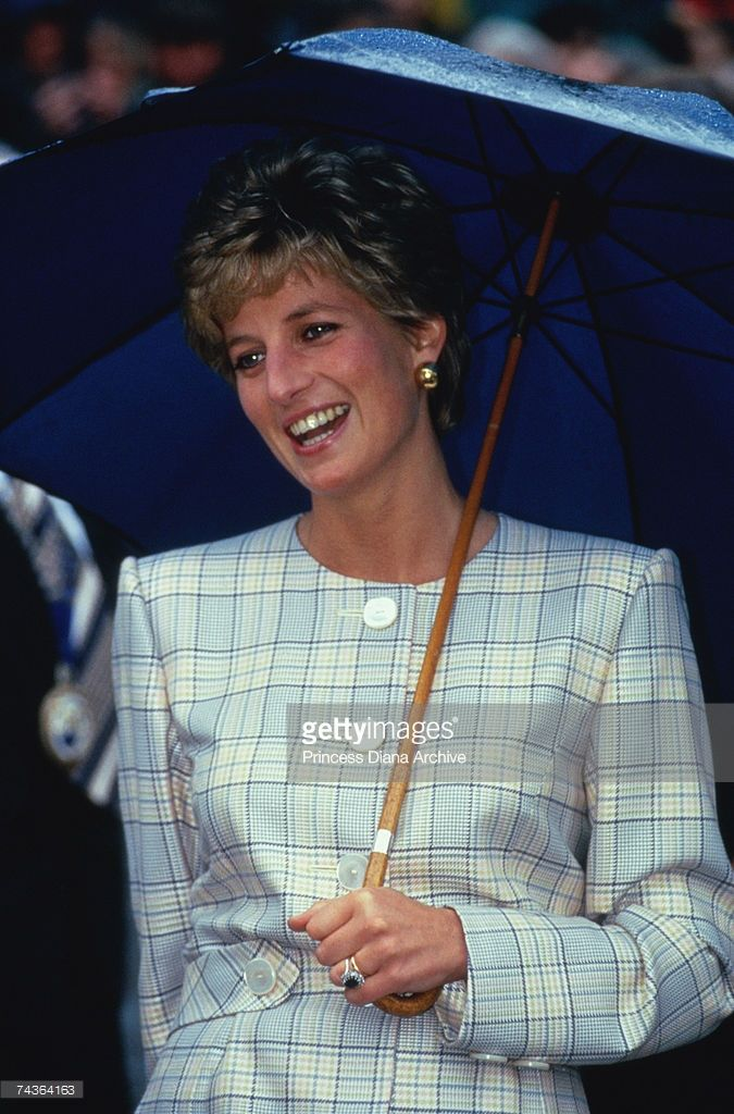 Princess Diana (1961 - 1997) visiting Camelford, Cornwall, 12th May 1993.Princess Diana also wore this mint green checked suit in 1991.