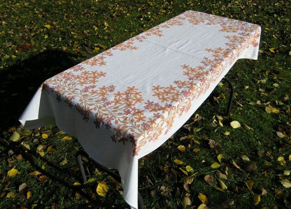 Vintage Autumn Floral Tablecloth, Synthetic Rectangular Tablecloth Orange and Rust Flower Pattern, Picnic Tablecloth, Floral Table Linens