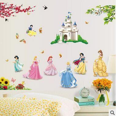 1 juego 33 * 43 pulgadas Princesas engomadas de la pared Para Niños habitación Blanco como la nieve etiquetas del arte de la pared del papel pintado Hone Decoración Niño DF5102