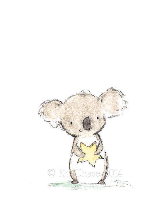 """Kinder Kunst--""""Sterne Freund Koala""""--archivalische Druck"""