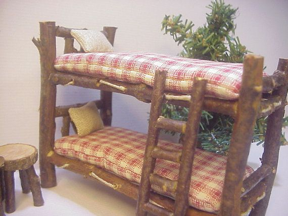 Bunkbeds 10 piece Set of Rustic Miniature by RusticMiniatures
