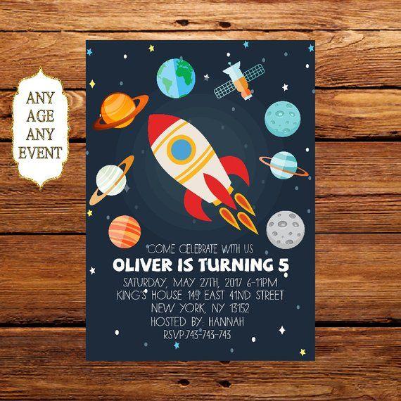 planet birthday invitation space