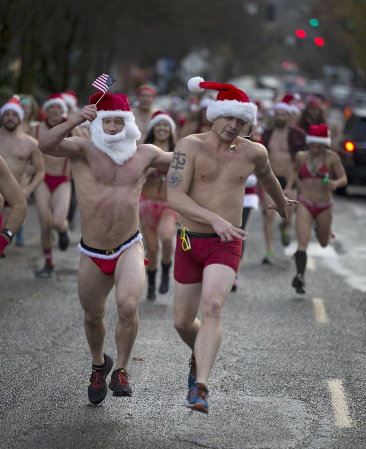 Portland's annual Santa Speedo Run