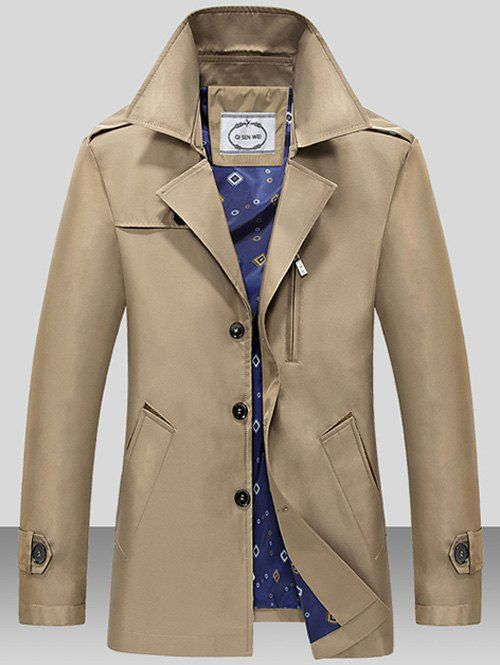 Turndown Collar Single Breasted Epaulet Wind Coat - DARK KHAKI L