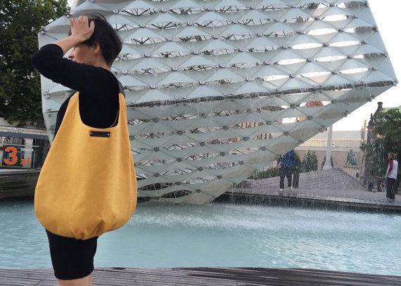 Yellow packable hobo bag xl shoulder bag comfortable by bandabag