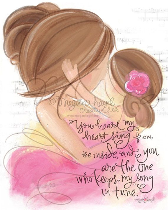 Brunette Mother and Daughter Children's Room Wall by DesignsbyMeg, $18.00