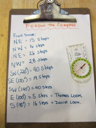 Orienteering; It's great for kids to learn basic compass skills! I set up a list of directions for the boys to follow. We talked about how to find North and about the degrees around the rim.