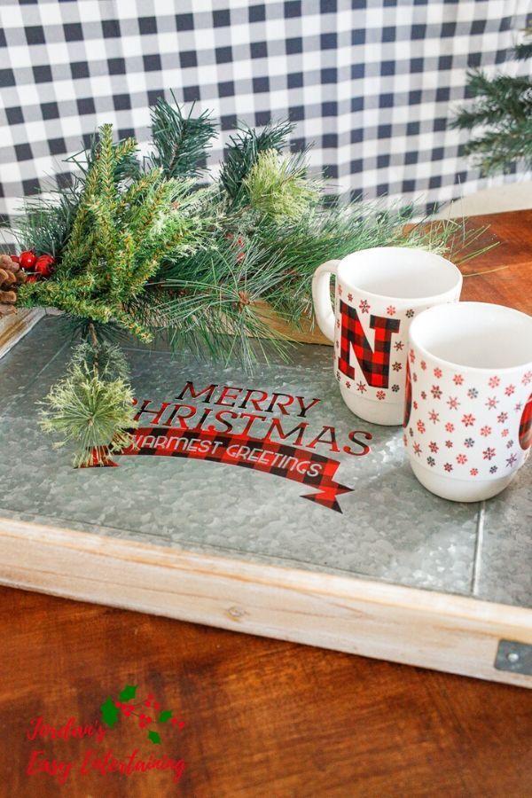 Buffalo Plaid Christmas Coffee Table Tray With Cricut Tutorial Buffalo Plaid Christmas Coffee Table Tray Plaid Christmas