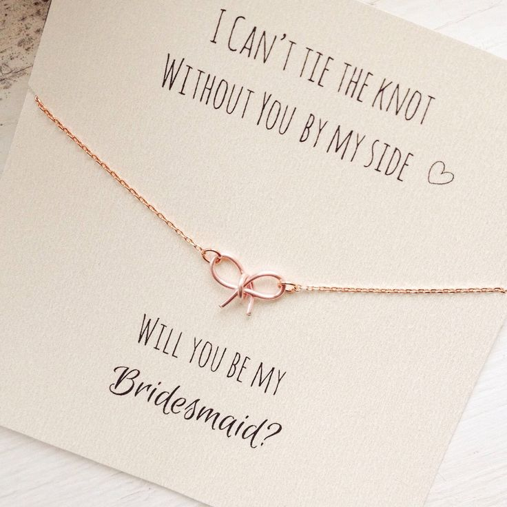 will you be my bridesmaid tie the knot necklace bow necklace tiny bow necklace wedding jewelry silver gold