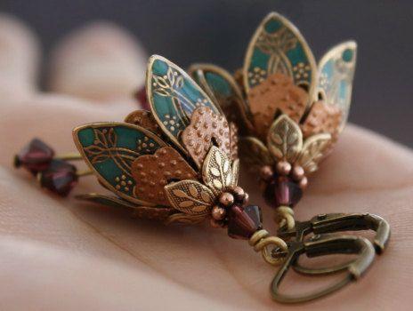 Flower Earrings, Dangle, Teal Earrings, Gift For Her, Gift Idea, Romantic Gift, Crystal Earrings, Statement Earrings, Boho, Weddings, Bridesmaid