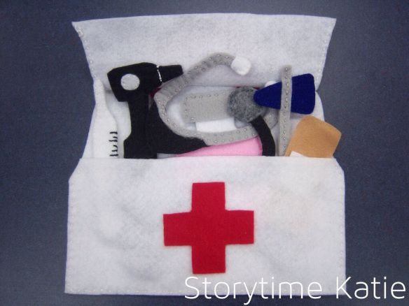 For sick storytime, I decided to make a felt doctor bag in the style of the toolbox flannel I made this summer. I used the template from the toolbox, which originally came from Serving Pink Lemonad…
