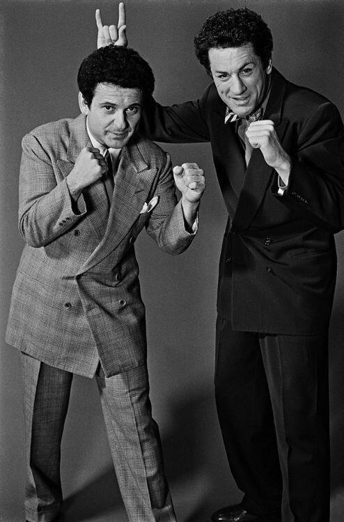 Joe Pesci and Robert De Niro during the making of Raging Bull, 1979