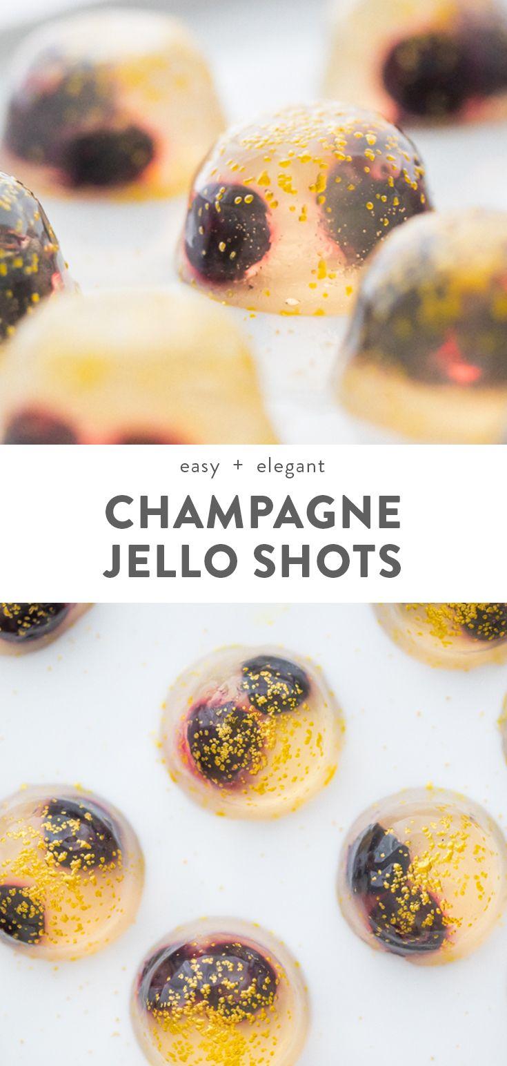 Champagne Jello Shots with Raspberry