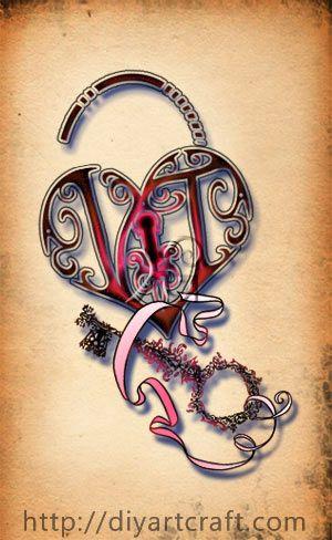 tattoo monogram vt heart padlock and key fantasy tattoo pinterest initials design and. Black Bedroom Furniture Sets. Home Design Ideas