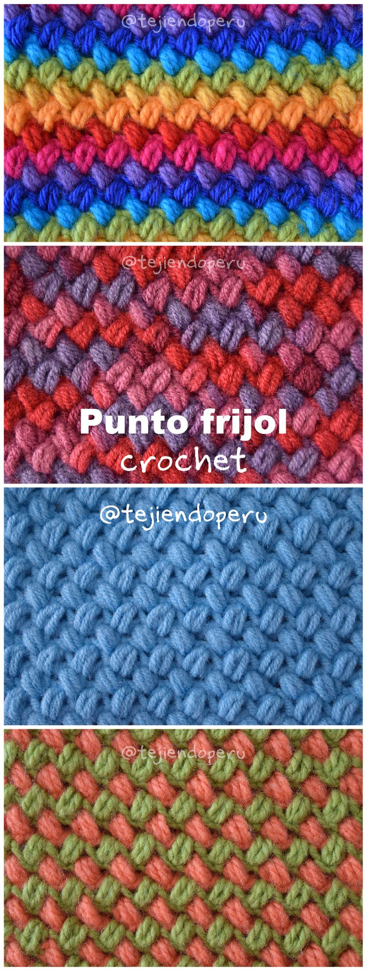 Crochet: punto frijol tejido a crochet paso a paso (video tutorial!). Crochet bean stitch