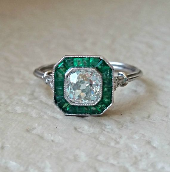 Art Deco Old Mine Diamond and Emerald Platinum Halo Vintage Target Engagement Ring