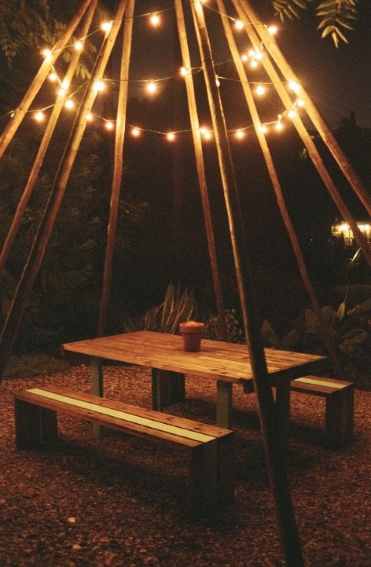 String lights and climbing plants around fire pit