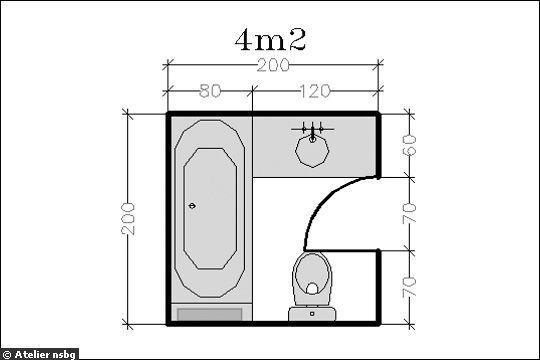 Surface de 4 m² : la salle de bains devient confortable - 15 plans pour une petite salle de bains (- de 5m²) - CôtéMaison.fr