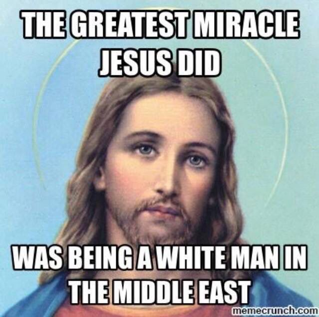 "This infuriates me!!! White Christians will get mad if you display ""black Jesus"" because you're erasing his actual race in order for you to relate to it more. When they're doing the exact same thing!!!! They think Jesus was a good person, therefore he must be white because they can't relate to people of color. It's one of the most blunt examples of white privilege I can think of and it makes me sick!!"