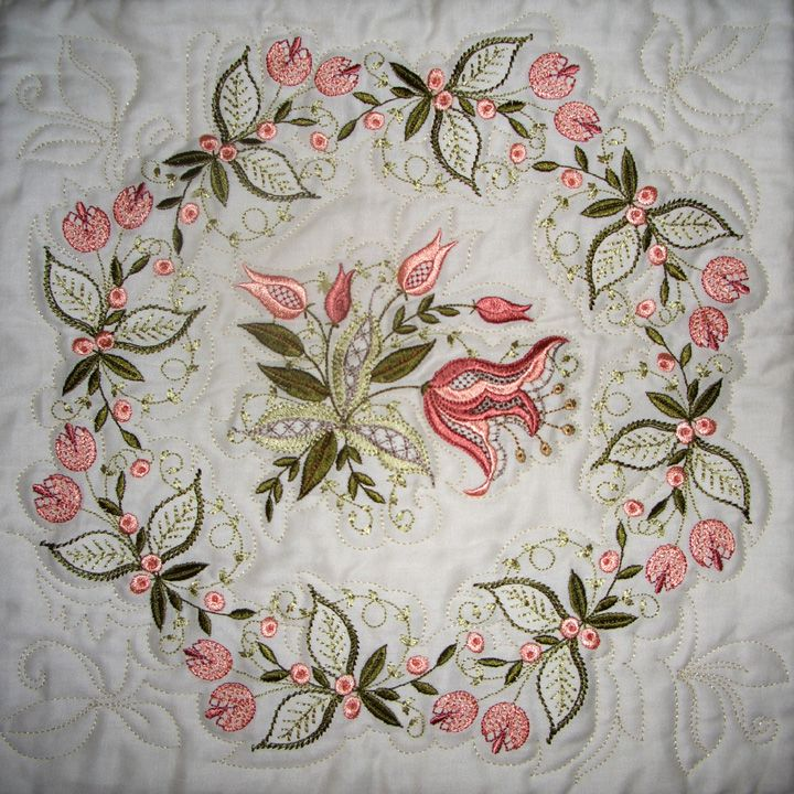 Embroidered Quilts | The quilter used the embroidery designs to create quilting motifs.